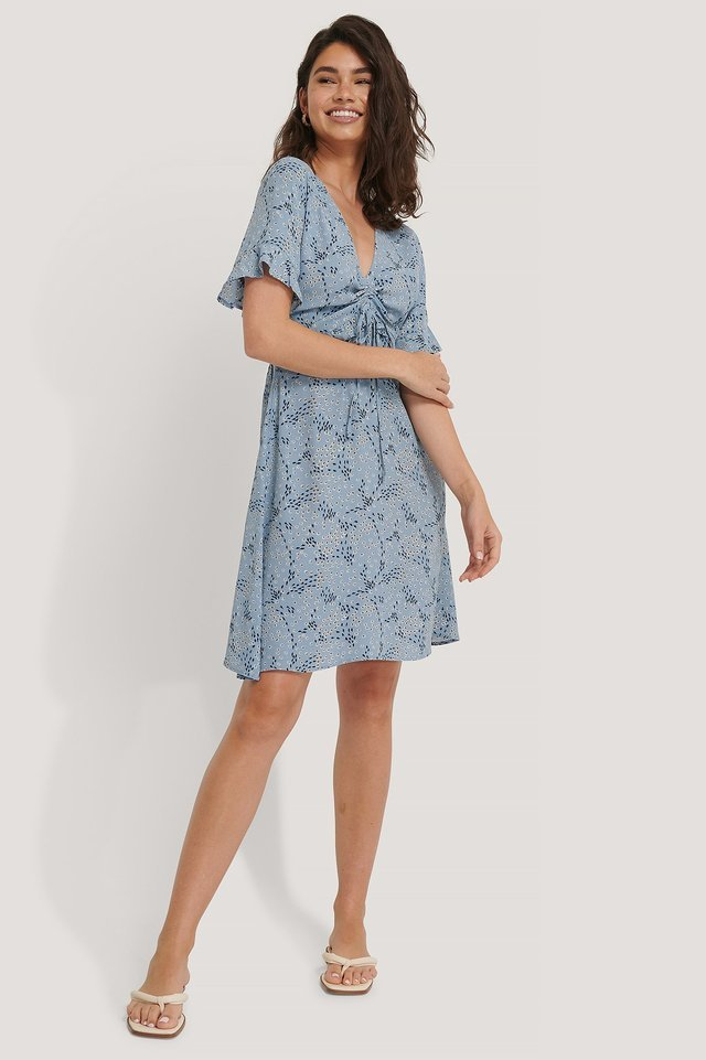 SHORT SLEEVE BLUE FLOUNCE DRESS