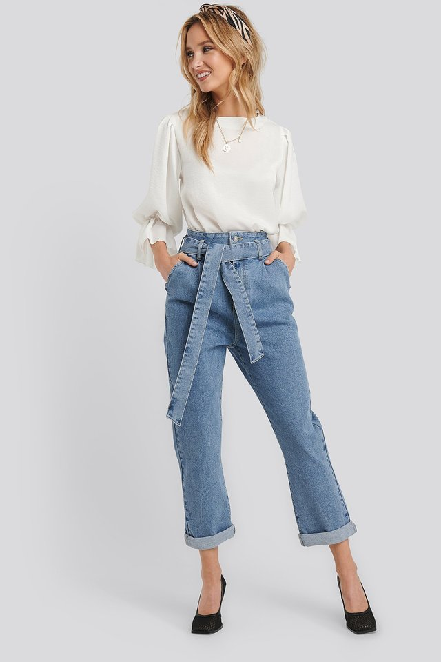 Belted Paperbag Turn Up Jeans Outfit