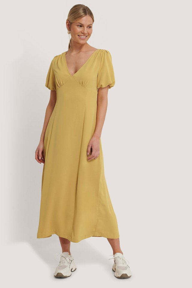 YELLOW PUFF SLEEVE MIDI DRESS