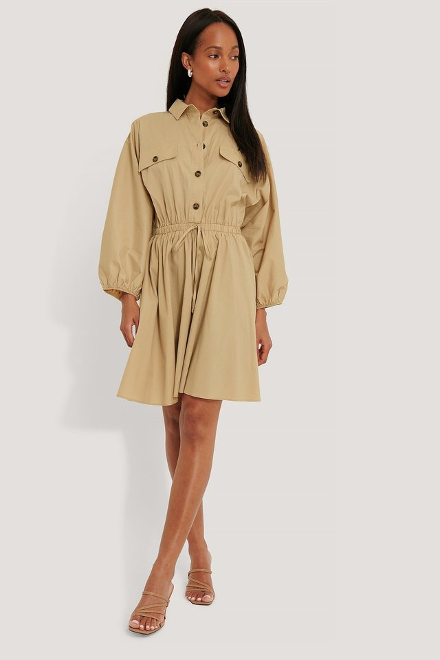 Elastic Waist Long Sleeve Shirt Dress Outfit
