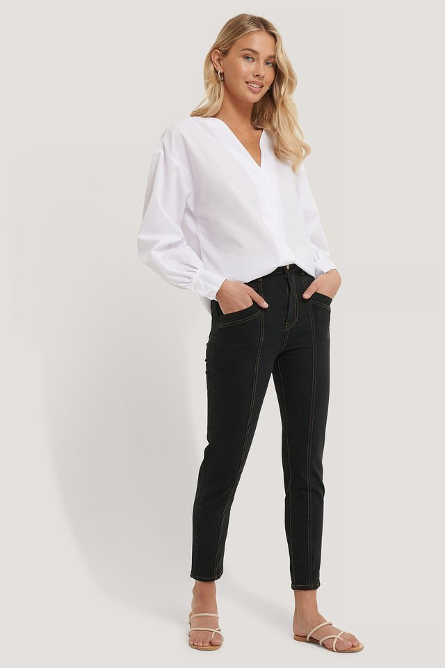 WHITE COLLAR DETAIL SHIRT