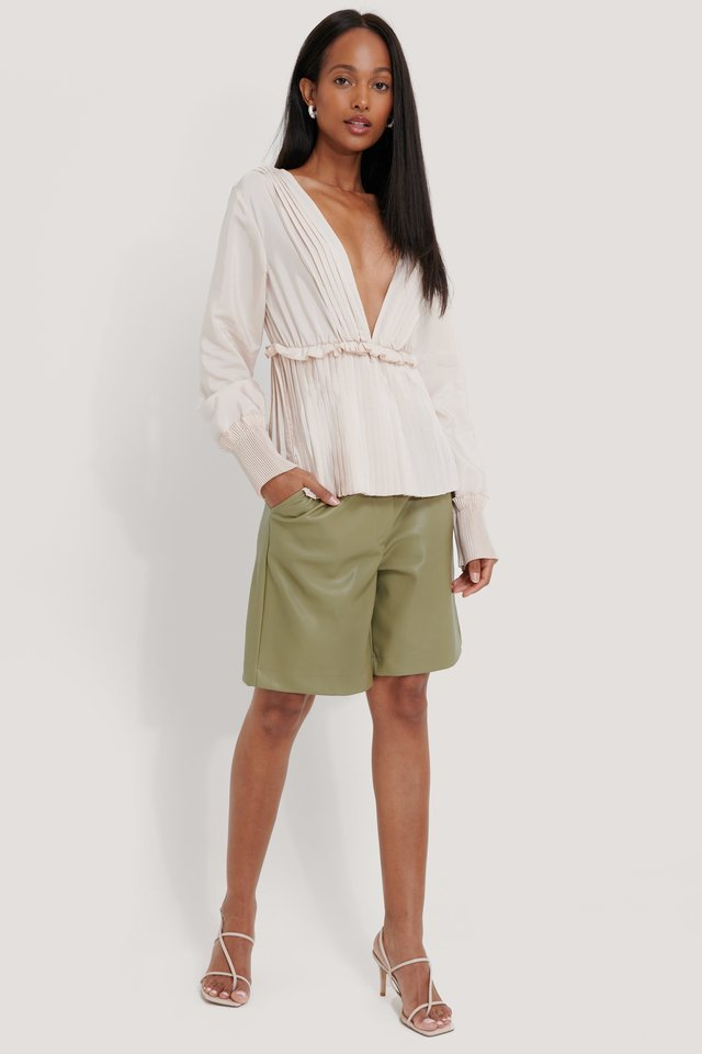 SMOCK WAIST BEIGE PLEATED BLOUSE