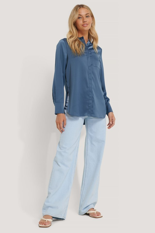 BLUE SATIN POCKET BLOUSE