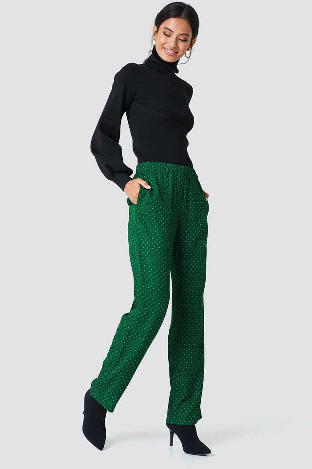 Straight Pants with Turtleneck Look
