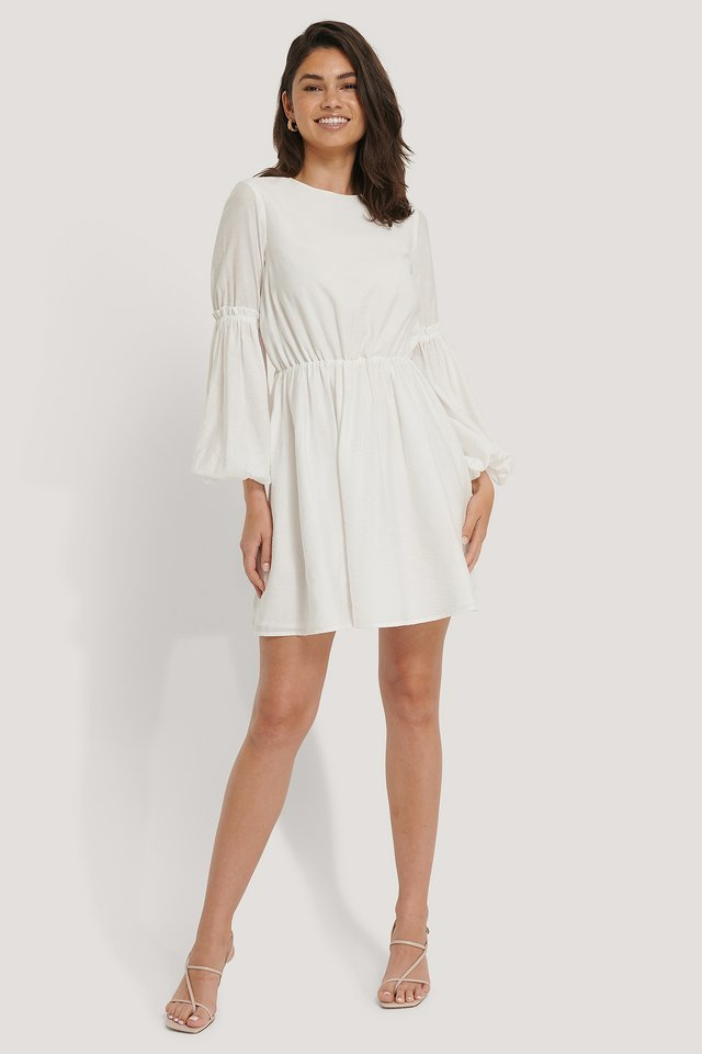 Flowy Balloon Sleeve Mini Dress