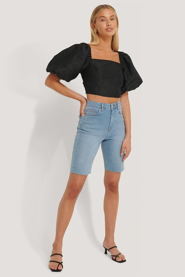 Open Back Puff Sleeve Top Outfit