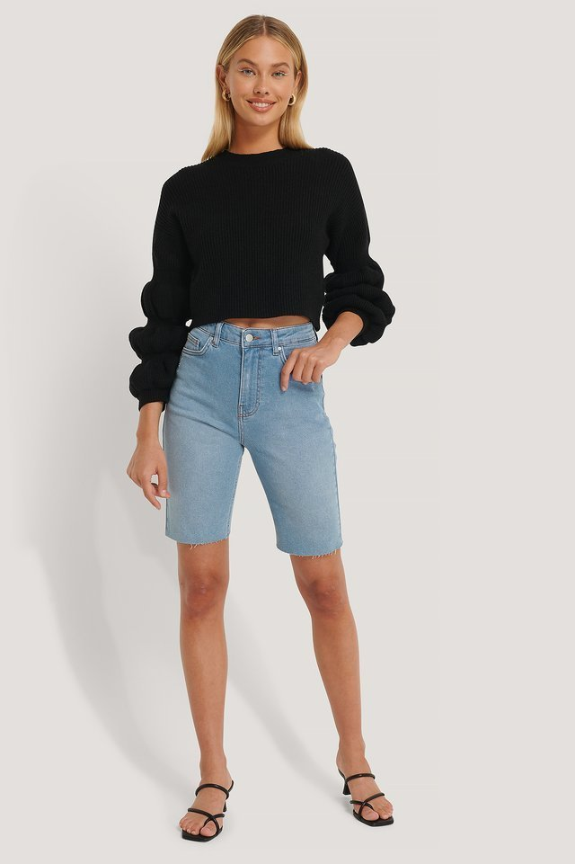 Cropped Bubble Sleeve Sweater