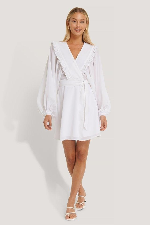 Deep V-neck Wrap Around Mini Dress