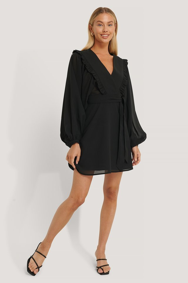 Deep V-neck Wrap Around Mini Dress