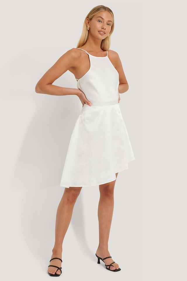 Flowy Jacquard Mini Skirt Outfit