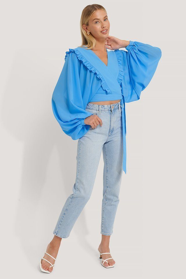 Deep V-neck Wrap Around Blouse Outfit