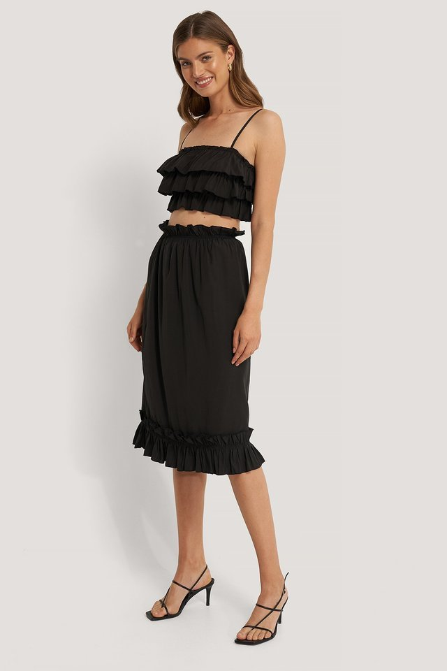 Black Frill Detail Skirt