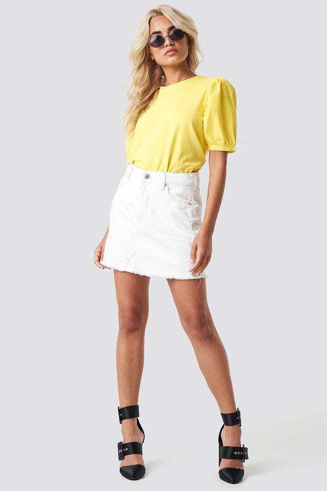 Detailed Tee with Denim Mini Skirt