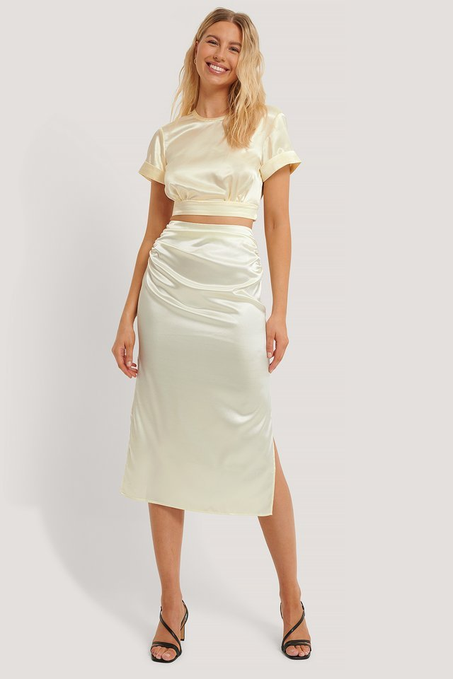 Side Slit Satin Skirt