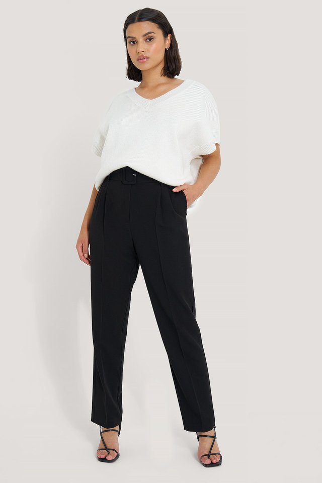 Belted Straight Leg Suit Pants Outfit