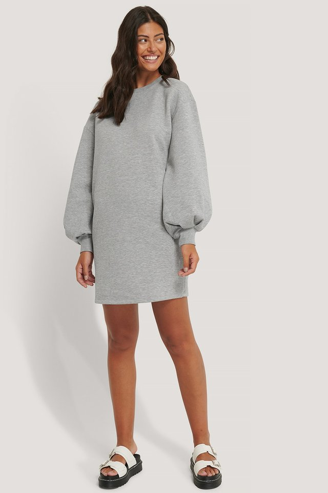 Puff Sleeve Sweatshirt Dress Outfit