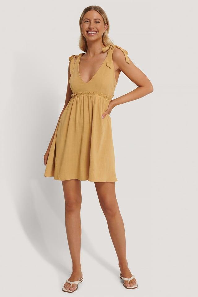 Deep V-Neck Straps Mini Dress Outfit