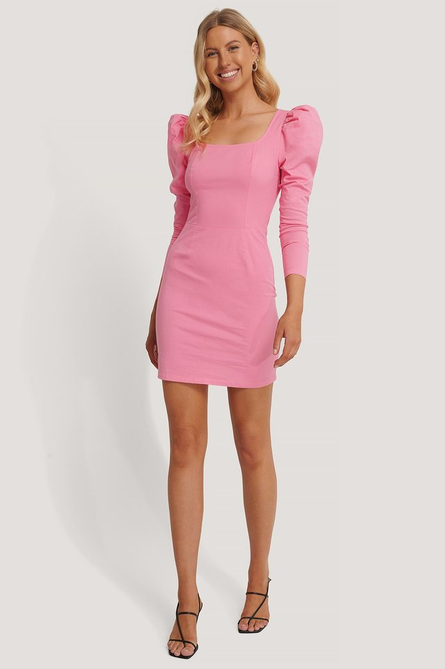Square Neck Puff Sleeve Dress Outfit