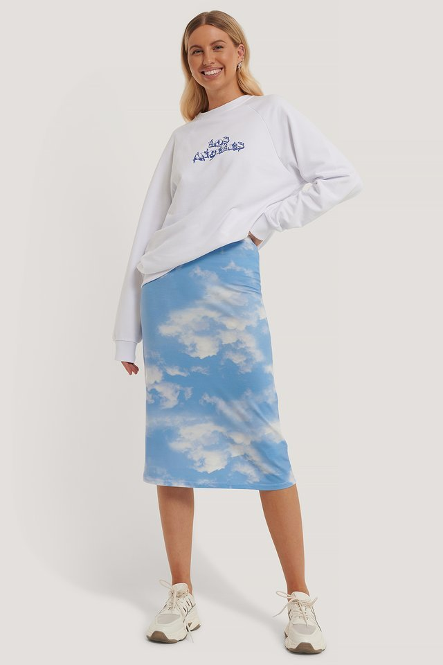 Sky Printed Skirt Outfit