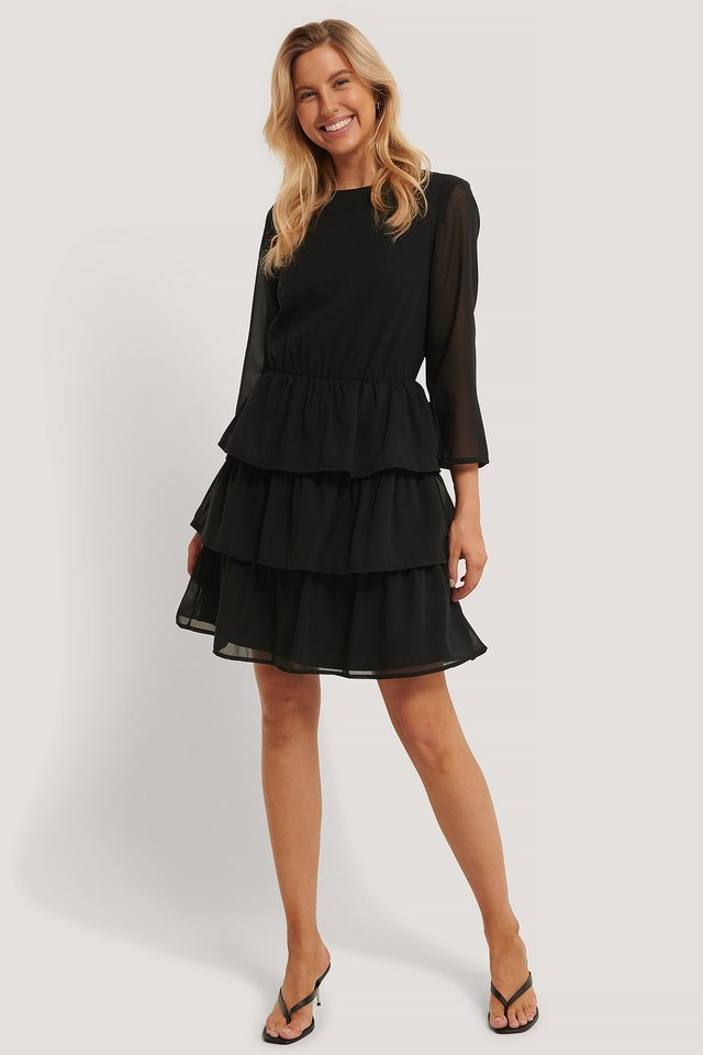 Chiffon Flounce Mini Dress