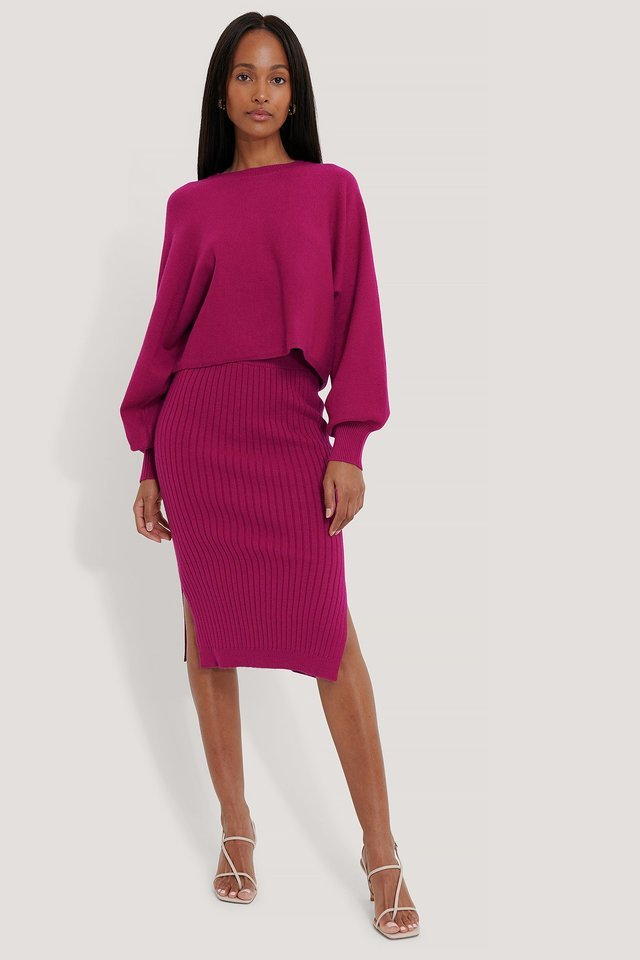 Round Neck Cropped Knitted Sweater Outfit