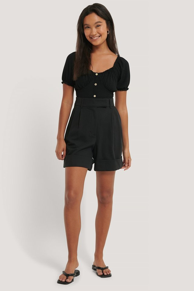 Black Bardot Buttoned Top