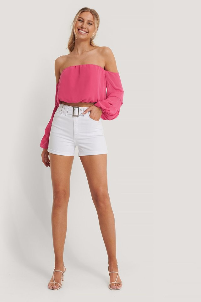 Off Shoulder Balloon Sleeve Top Outfit