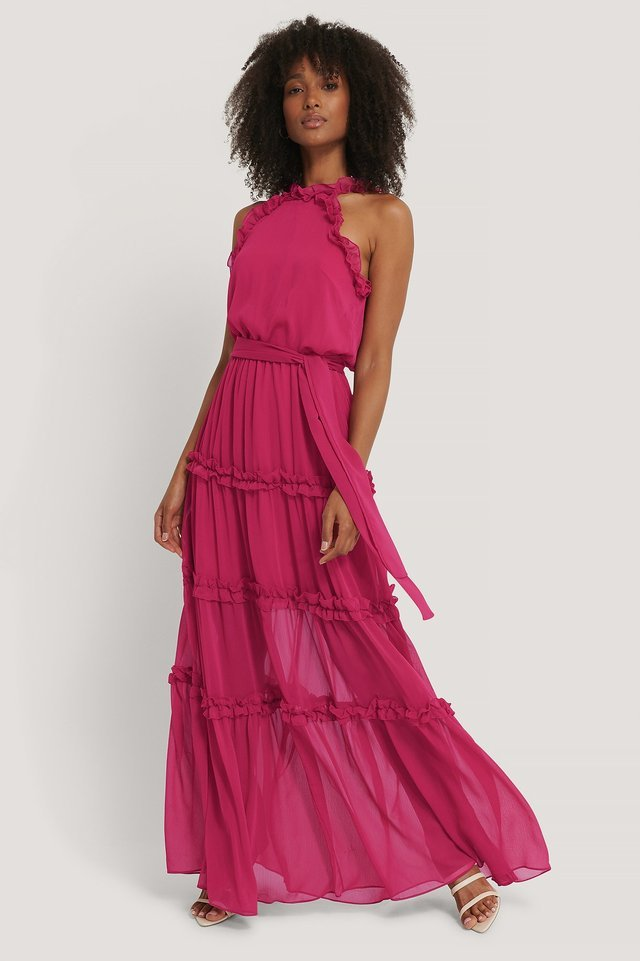 Neckline Detailed Evening Dress