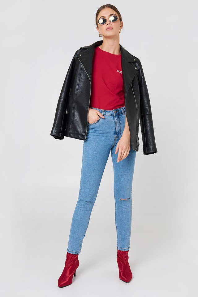 Ripped Jeans and Leather Jacket Outfit