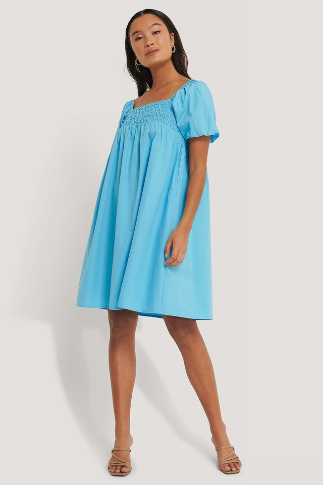 Smocked Cotton Puff Sleeve Dress Outfit