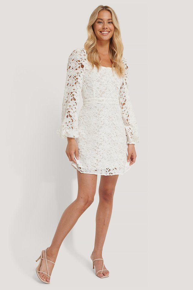 Crochet Long Sleeve Mini Dress