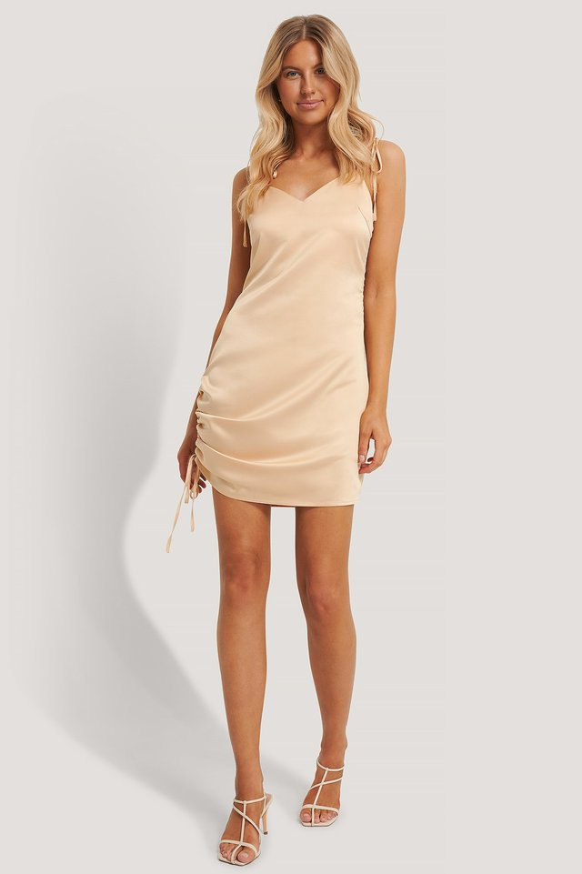 Satin Drawstring Mini Dress Outfit