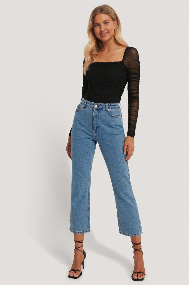 Square Neck Mesh Top Outfit