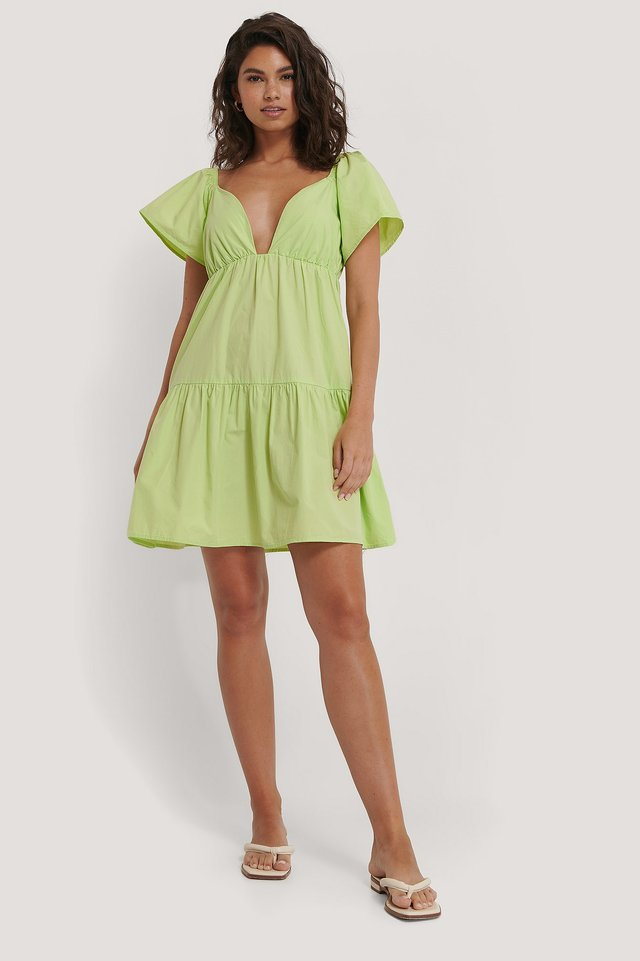 Flounce Shoulder Mini Dress Outfit