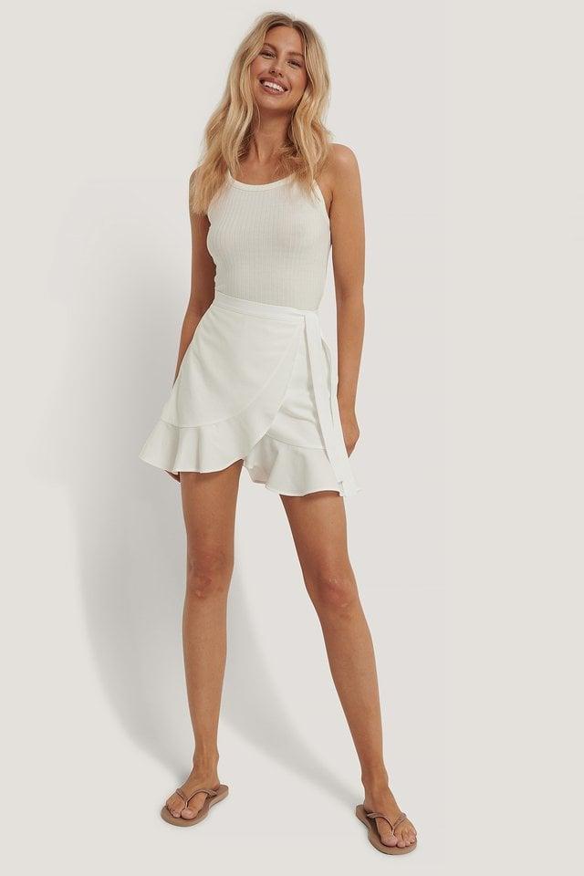 Aino Rossi Flounce Overlap Mini Skirt
