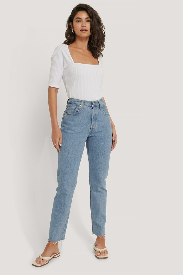 Square Neck Ribbed Top Outfit