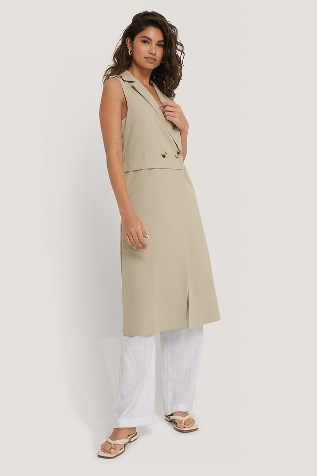 Buttons Long Vest Outfit