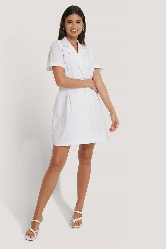 Button Marked Waist Cotton Dress