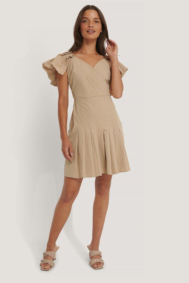 Sleeves Pleated Mini Dress