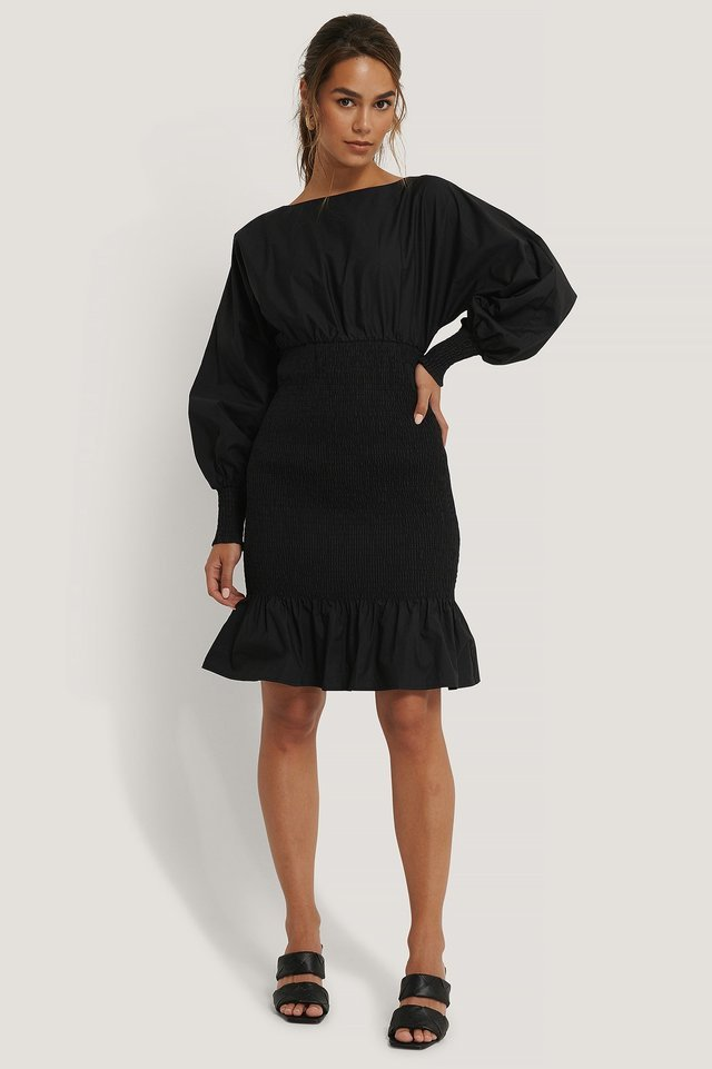 Balloon Sleeve Smock Dress