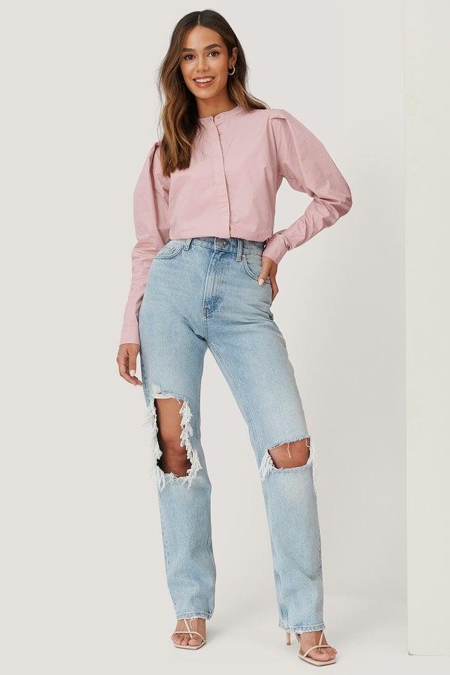 Pink Bluse Med Detaljer På Ermene