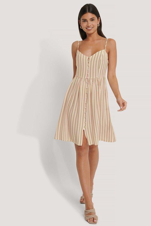 Multi Button Strappy Dress