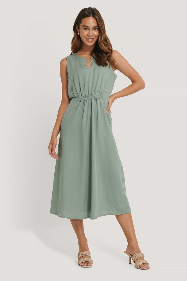 Waist Pleated Midi Dress Outfit