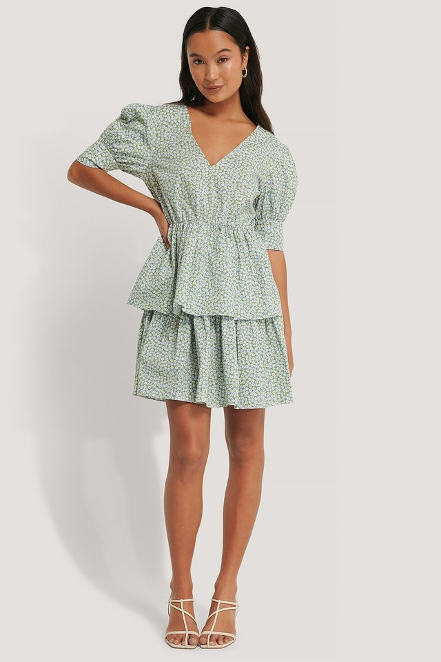 V-Neck LS Flounce Mini Dress Outfit