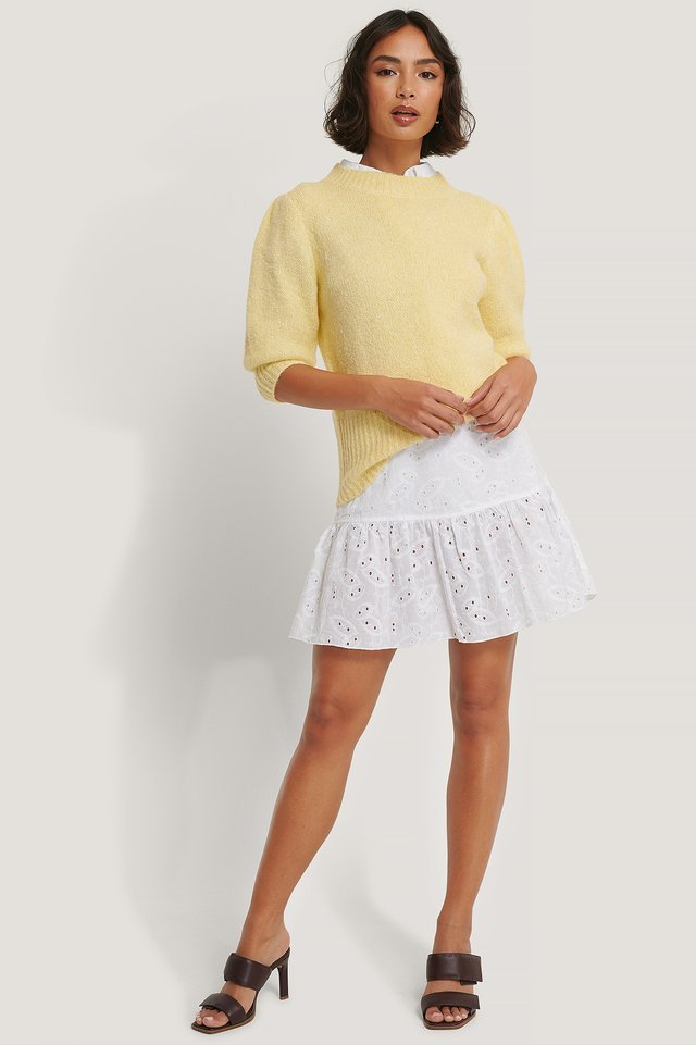 Short Puff Sleeve Knitted Sweater