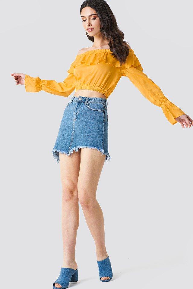 Off Shoulder Top with Denim Mini Skirt