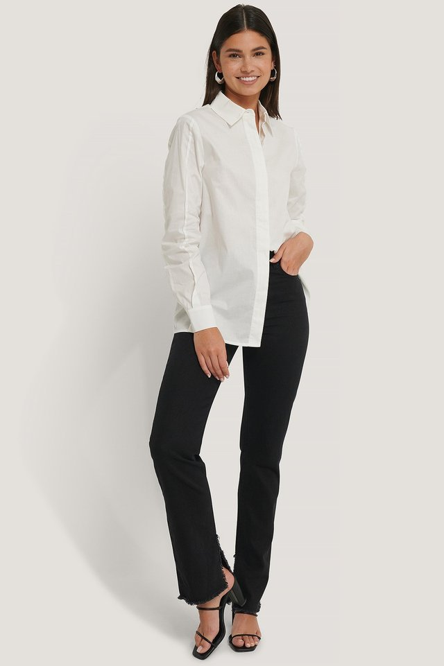 Raw Seam Oversized Shirt Outfit