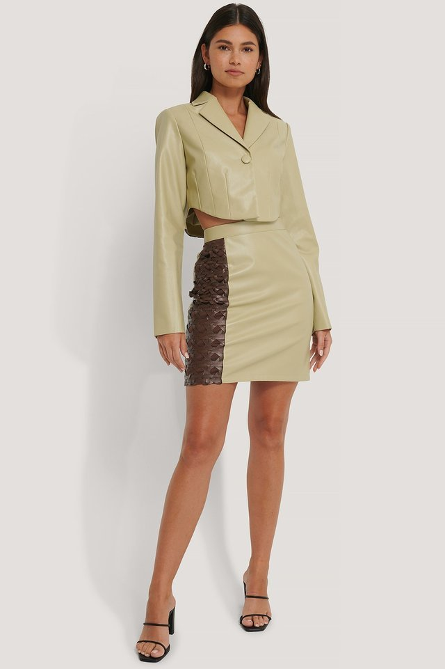 Pu Detailed Mini Skirt Outfit
