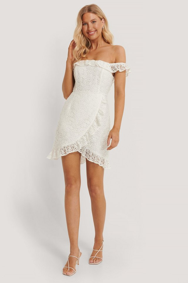 Off Shoulder Overlapped Lace Dress