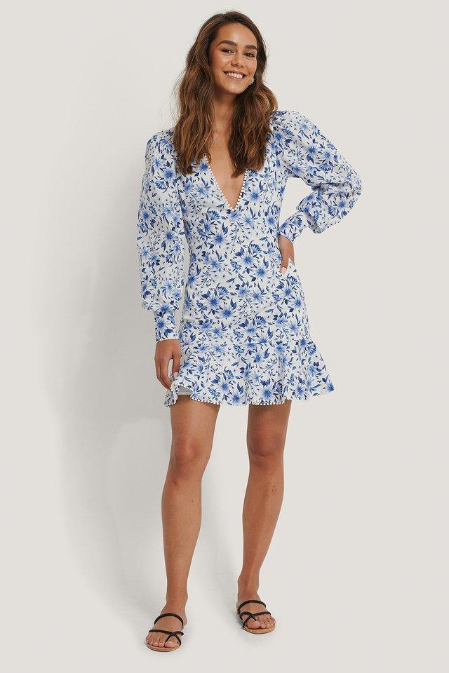 Deep V-neck Wide Shoulder Mini Dress